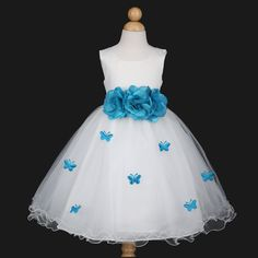Ivory/Turquoise Blue Bridesmaid Wedding Flower Girl Dress 6M 12M 18M 2 4 6 8 10