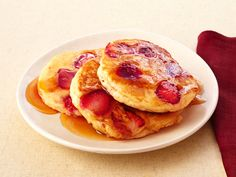 Strawberry Pancakes With Mamma Callie's Syrup recipe from Patrick and Gina Neely…