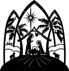 a pefect nativity for paper cutting...    http://bestclipartblog.com/clipart-pics/nativity-scene-clip-art-7.jpg