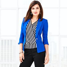 Work outfit - I have the striped top. I like the idea of a bold-colored blazer instead of the usual black or neutral.