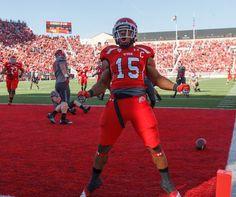 Utah running back John White celebrates a touchdown against Washington State on Nov. 3. (Trent Nelson   The Salt Lake Tribune)