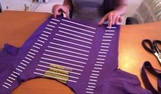 How to cut-up a top. Cut Up T Shirt: 3 Columns On Back With Weaving And Bows - Step 4 Side Cut Shirt, Cut Up T Shirt, Diy Cut Shirts, T Shirt Diy, Sewing Clothes, Diy Clothes, Clothes Refashion, No Sew Tank, T Shirt Weaving