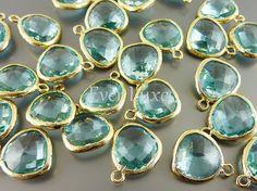 5031GAQ BULK 6 pcs Aquamarine / Gold Faceted Glass by EverLuxe, $15.12
