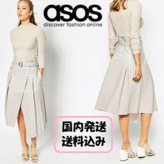 【送料無料】 ASOS☆日本未入荷*ラップディテールミディスカート