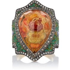 Sevan Biçakçi Flower-Garden Intaglio Ring ($18,525) ❤ liked on Polyvore featuring jewelry, rings, colorless, flower jewelry, 24k ring, carved ring, pear shape ring and flower ring