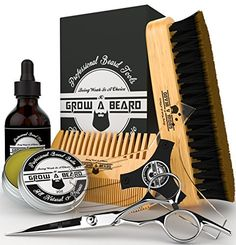 Beard Grooming Kit & Conditioner Products For Men Care / Wild Board Bristle Brush - Pocket Size Mustache Comb - Natural Leave-in Balm - Organic Oil - Stainless Steel Trimming Scissor & Shaping Tool. For product & price info go to:  https://beautyworld.today/products/beard-grooming-kit-conditioner-products-for-men-care-wild-board-bristle-brush-pocket-size-mustache-comb-natural-leave-in-balm-organic-oil-stainless-steel-trimming-scissor-shaping/