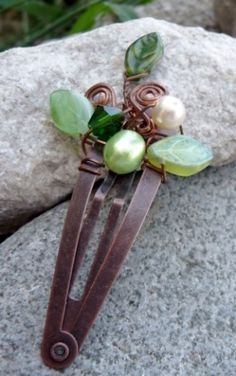 Wire wrapped hair clip by jamie_1