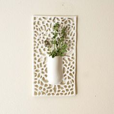 Square Carved Porcelain Lace Hanging Bud Vase by Isabelle Abramson Ceramics Available Work by amparo Hand Built Pottery, Slab Pottery, Pottery Vase, Ceramic Pottery, Ceramic Wall Art, Ceramic Clay, Ceramic Vase, Ceramic Wall Planters, Planter Pots