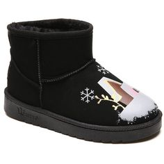 Black 36 Female Plush Warm Winter Trend Lovely Graffiti Comfortable... (€18) ❤ liked on Polyvore featuring shoes, boots, black boots, kohl boots, kohl shoes and black shoes