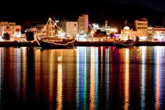 Muttrah Corniche | Dhows at night. view on Fb https://www.facebook.com/OmanPocketGuide  credit: Sunset Oman