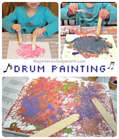 This is a fun and messy piece of process art that the kids will love. Turn up the music and then drum and splatter and paint away.