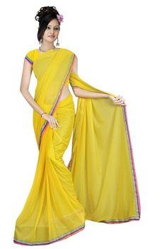 Yellow Colored Lycra Saree Sarees on Shimply.com