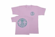 PINK TSHIRT WITH TEAL BLUE PRINT SHORT-SLEEVED T-SHIRT ·Exact 2-ply crew neck…
