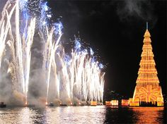 #Christmas in the world - The largest floating Christmas Tree in the world (2011) #RiodeJaneiro Daily Photo: Opening of Christmas Tree at Rodrigo de Freitas Lagoon