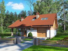 Projekt domu Maja II 108,43 m2 - koszt budowy 187 tys. zł - EXTRADOM Modern Bungalow House, Modern Cottage, Gazebo, Pergola, Outdoor Structures, House Design, Cabin, House Styles, Home Decor