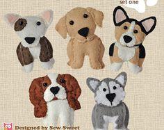 cute plush Dogs sewing patterns set One - pdf PATTERN, sew your own, wool felt, corgi, bull terrier, malamute, labrador, cavalier king