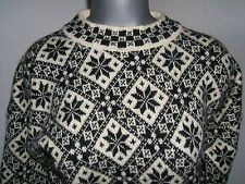 Dale Of Norway WOMENS Pure Wool Pullover Snowflake Sweater Black / White Sz M