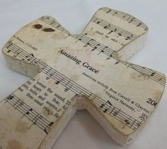 Amazing Grace Shabby Chic Wood Hymnal Cross by cherryscreations, $20.00