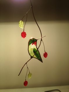 Turned Hummingbird Stained Glass Suncatcher by BirdsAndBugs1, $25.00