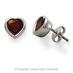 Solitaire Heart with Garnet Ear Posts from James Avery