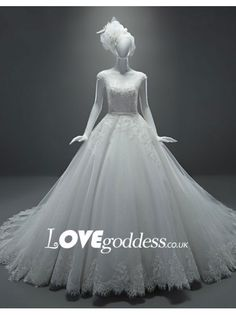 Tulle Cap Sleeves Ball Gown Wedding Dress Lace Appliques - Wedding Dresses - Lovegoddess