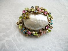 SOLD - Vintage Large Iridescent & Rhinestone by PhylmasFabulousFinds, $16.00 - SOLD