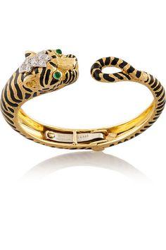 DAVID WEBB Tiger enameled 18-karat gold, platinum, diamond and emerald bangle