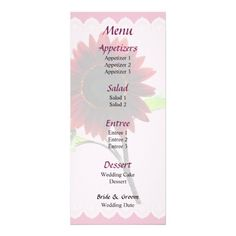 Designs by Susan Savad - Cherry and Chocolate Sunflower Wedding Menu -- Sunflower wedding menu that you can customize yourself. #wedding #weddingmenu #customize #flower #flowers #sunflower #sunflowers #summer   $0.55  per card   BULK PRICING AVAILABLE!