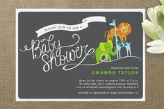Baby Animal Parade Baby Shower Invitation