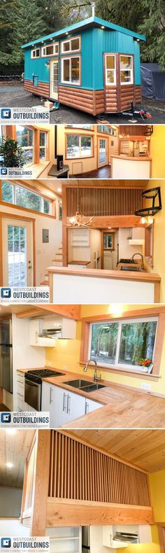 The 26' Skookum by Westcoast Outbuildings is a colorful cabin style tiny house built on a 10-foot wide trailer with 385-square-feet of living space.