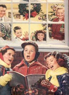 7 UP CHRISTMAS CAROLING CELEBRATION BEAUTIFUL ART 2 pg Vintage Magazine Ad 1951