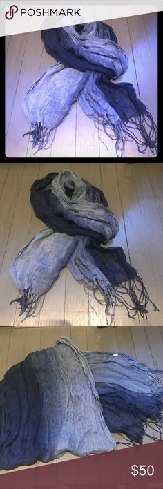 Blue ombré linen knotted string bottom scarf Blue ombré 💯 linen knotted string bottom scarf. Bought at UO Urban Outfitters Accessories Scarves & Wraps