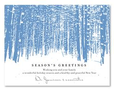 Business Holiday invitations by Green Business Print. A snowy and dreamy design inspired by winters of the Aspen Forest.                                                                                                                                                                                 More