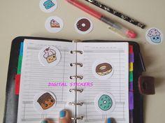 donuts kawaii planner stickers printable cupcakes donough chibi clip art agenda organizer food download digital anime manga lasoffittadiste