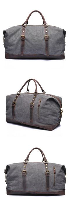 Waxed Canvas Leather Travel Bag  Dufulle Bag  Holdall Luggage  Weekender  Bag Canvas Weekender 506fe306cd421