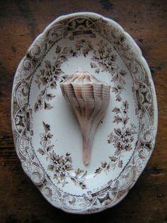 Vintage Brown Transferware Porcelain Soap Dish
