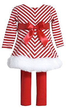 36ff8fd0e This cute 2 piece set from Bonnie Jean is sure to keep your baby girl warm  and cozy. The Santa dress features red white mitered stripe and a ribbon  bow at ...