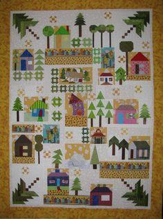 a fun, modern sampler House Quilt Block, House Quilts, Quilt Blocks, Antique Quilts, Vintage Quilts, Ginger House, Embroidered Quilts, Sampler Quilts, Little Houses