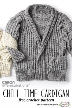 Get the free crochet pattern for this Crochet Chill Time Cardigan Sweater from Caron featured in my husband-approved crochet sweaters for men FREE pattern roundup!