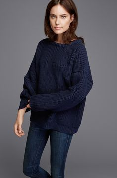 The Chunky Knit sweater in navy. wool, raised, washed, dyed, spun and knit in the U. Navy Blue Sweater, Blue Sweaters, Pullover Sweaters, Knit Sweaters, Mode Outfits, Casual Outfits, Look Fashion, Street Fashion, Modern Fashion
