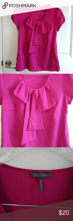 Raspberry Pink Bow Detail Scoop Neck Blouse Raspberry Pink Bow Detail Scoop Neck Blouse Side Zipper Length 26 Bust 18 Kristin Davis Tops Blouses