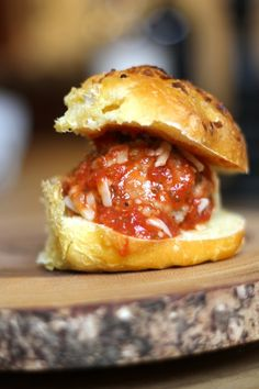 Meatball Sliders. I'm always looking for party finger-food and this fits the bill!