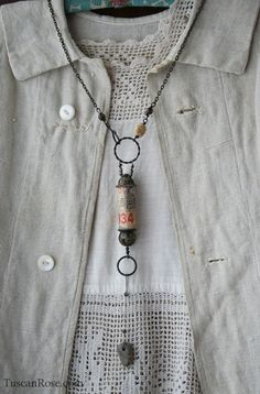 I love the contrast of old metal against simple pieces. Necklace 793934 urban gypsy jewelry (4)