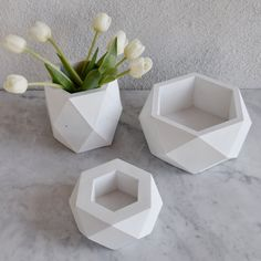 Geometric Concrete Pots / vases - set of 3 concrete Planter