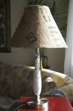 coffee bean bag + mod podge + lamp + crackle= rockin' awesome lamp