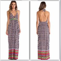 """Trina Turk Swim Maxi Dress NWT amazing Trina Turk maxi dress! I bought this a while ago, but it's sadly too long on me. Halter tie closure, gold hardware, and hidden front pockets. Neckline (while tied) to hem: 56"""", 90% Nylon/ 10% Elastane. Actual photo of dress to come! Paid $154+ for it. Reasonable offers only, please. Trina Turk Dresses Maxi"""