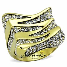 Stainless Steel 1.5 Ct Top Grade Crystal 14K Gold Plated Cocktail Ring Sz 5-10