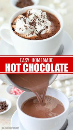 Hot Chocolate Recipe Easy, Homemade Hot Chocolate, Hot Chocolate Bars, Hot Cocoa Recipe With Cocoa Powder, Homemade Hot Cocoa Recipe, Hot Chocolate Recipe Cocoa Powder, Hot Cocoa Recipe Microwave, Nestle Hot Cocoa Recipe, Hot Chocolate With Milk