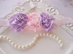 Headband in Lavender and Pink with Birdcage Veil and Pearls.