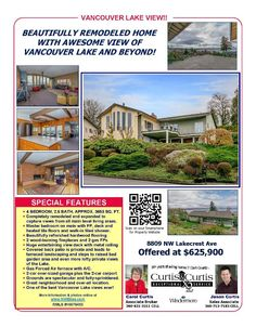 Real Estate for Sale at $625,900! Come and view this four Bedroom, two full and one half Bath, 3653 square foot beautiful two level Lakeshore Day Ranch with a view of the Vancouver Lake on a large .41 acre lot located at 8809 NW Lakecrest Avenue, Vancouver, Washington 98665 in Clark County area 41 which is the North Hazel Dell or Felida area in Vancouver. The RMLS number is 16676453. It has three gas burning fireplaces and a view of Vancouver Lake. It was built in 1959 and the local high…